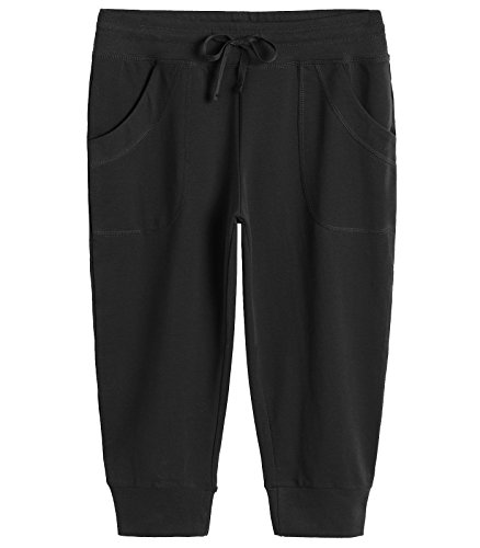 Weintee Women's Capri Joggers Jersey Sweatpants M Black