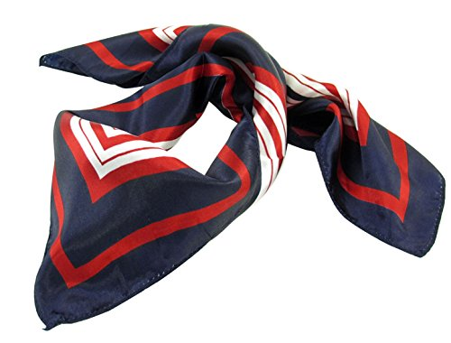 Lady Dark Blue Red White Stripe Print Kerchief Square Neck Scarf (Red Stripe Scarf)