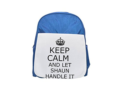 Handle it SHAUN Keep calm printed kid's blue backpack, Cute backpacks, cute small backpacks, cute black backpack, cool black backpack, fashion backpacks, large fashion backpacks, black fashion backpa