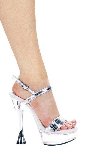 (Ellie Shoes Women's 6 Inch Silver Cone Heel Mirror Sandal (Silver;9) )