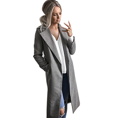 Pengy Womens Winter Long Coat Lapel Parka Jacket Cardigan Overcoat (XL, - Flak White Jacket Gray Oakley And