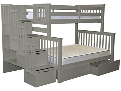 Bedz King Stairway Bunk Beds Twin over Full with 4 Drawers in the Steps and 2 Under Bed Drawers, Gray