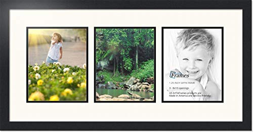 ArtToFrames Collage Photo Frame Double Mat with 3 - 8x10 Openings and Satin Black Frame