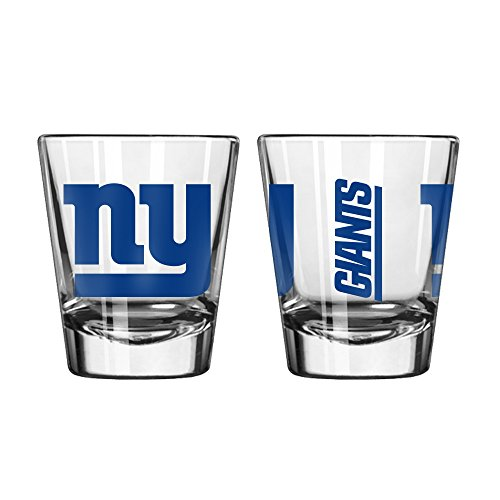 New York Giants Glass - Official Fan Shop Authentic NFL Logo 2 oz Shot Glasses 2-Pack Bundle. Show Team Pride at home, your Bar or at the Tailgate. Gameday Shot Glasses for a goodnight (New York Giants)