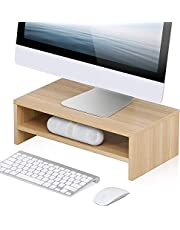 FITUEYES Computer Monitor Stand 2 Tier PC Laptop/Printer/TV Riser Desk with Storage Shelf for Home Office and School Use, 42.5 x 23.5 cm Beige DT204201WO