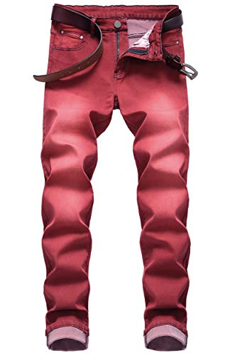 Men's Vintage Washed Regular Straight Fit Stretchy Soft Denim Jeans Pants Red 42 (Best Slim Fit Jeans 2019)