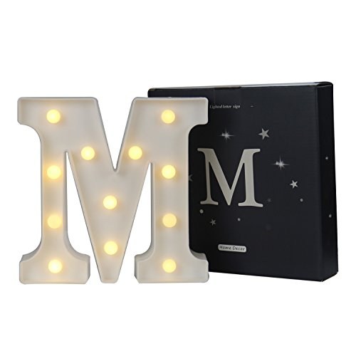 Alphabet Lamp (DELICORE LED Marquee Letter Lights Alphabet Light Up Sign for Wedding Home Party Bar Decoration M)