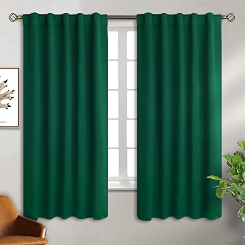 BGment Rod Pocket and Back Tab Blackout Curtains for Bedroom - Thermal Insulated Room Darkening Curtains for Living Room, 2 Window Curtain Panels (42 x 63 Inch, Emerald) (Tab Back Curtain)