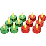 Home-X Flameless Tealight Votive Candles, Perfect for Holiday Parties and Decorating, Green and Red (Set of 12)