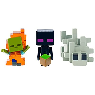 Minecraft Zombie In Flames, Enderman, & Silverfish Figure: Toys & Games
