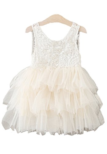 Horcute Short-style Sleeveless Beaded Lace Tulle Tiered Tutu Flower Girl Birthday Party Dress Ivory 110# -