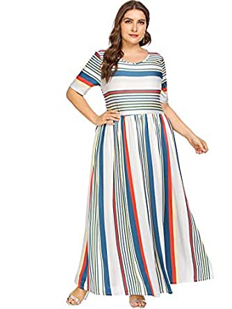 Floerns Women's Plus Size Striped Print Maxi Dress Multi 1XL