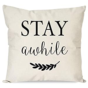 PANDICORN Farmhouse Pillow Covers with Quotes Stay Awhile for Home Decor, Black and Cream Throw Pillow Cases for Couch Porch Guest Room, 18×18 Inch