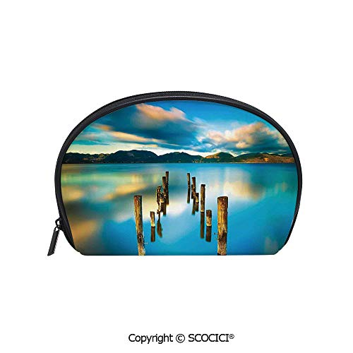 SCOCICI Printed Small Travel Toiletry Cosmetic Pouch Surreal Landscape with Wood Deck and Clouds in Sky Coastal Charm Handy Daily Storage Makeup Bag