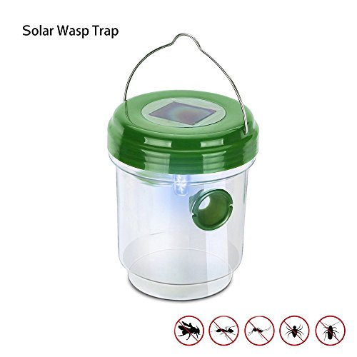 MarlaMall Wasp Trap Catcher, Life Outdoor Solar Powered Trap with Ultraviolet LED Light for Bees, Wasps, Hornets, Yellow Jackets, Bugs and More