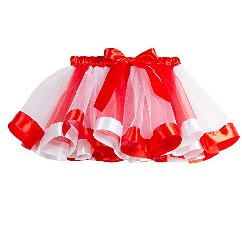 Sunhusing Children Rainbow Skirt Bowknot Ribbon Applique Tutu Skirt Christmas Party Toddler Baby Costume Skirt