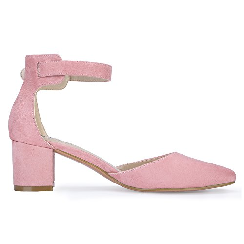 D'Orsay Mid C Pink Pedazo Ankle Heels Pumps Chunky Suede Women's IN2 IDIFU Strap Oqa1zF