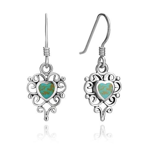 Sterling Silver Turquoise Heart Earrings (925 Sterling Silver Filigree Turquoise Gemstone Heart Shaped Dangle Hook Earrings)
