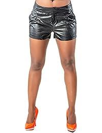 Women's Curvy Fit Tritia Black Vegan Leather Trouser Short