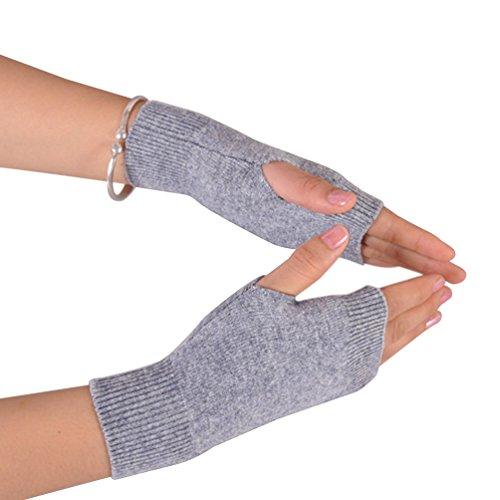 NOVAWO 100% Cashmere Half Fingerless Thumb Hole Warm Gloves Mittens for Men Women, Light -
