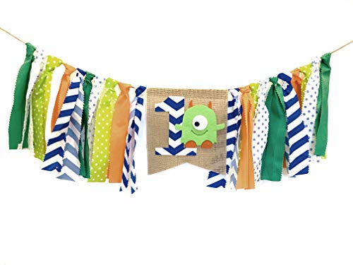 Little Monster Themed Highchair Banner for First Birthday Smash Cake Photo Shoot,Party Supplies and Decorations for Baby Boy's 1st Year Bday,Chair Garland for Picture Backdrop,Aqua Orange Green Blue Polka Dot -