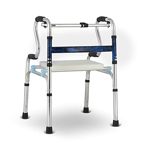 Bathroom Shower Chair with Padded Seat,Lightweight Aluminum Walker Foldable for Elderly Adult Bariatric,Walking Zimmer Frame Non-Slip Stand Assist- Adjustable Height (2 In 1 Rollator And Transit Chair)