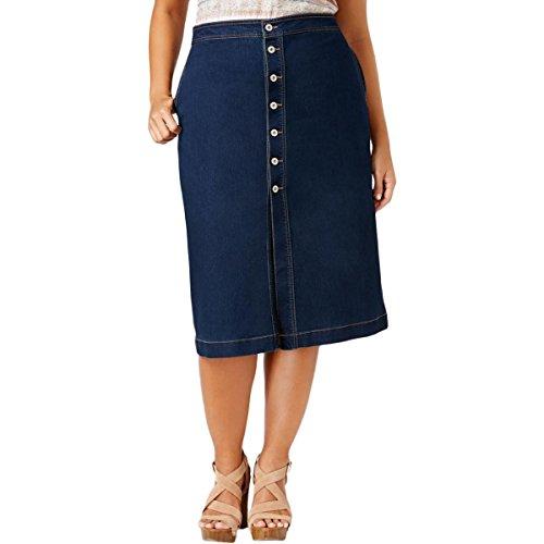Style & Co. Womens Plus Knee-Length Button Fly Denim Skirt Denim 22W (Style Co & Spandex . Skirt)