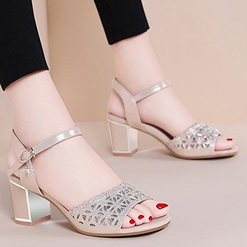 tacón RUGAI mujer de grueso sandalias moda gran inferior de verano zapatos dama alto Golden sandalias de UE wgygq0rt