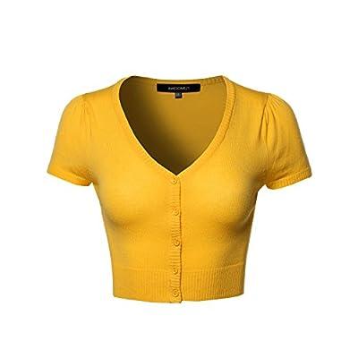 Women's Basic Solid V-Neck Bolero Shrug Cropped Cardigan at Women's Clothing store