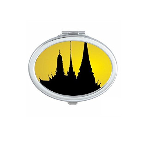 Kingdom of Thailand Thai Traditional Customs Culture Shadow Temple Art Illustration Oval Compact Makeup Pocket Mirror Portable Cute Small Hand Mirrors by DIYthinker