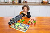 JOYIN Transporter Dinosaur Carrier Toy Truck with 6 Dinosaur Figures, Dinosaur Park Vehicle Cars, Adventure Map
