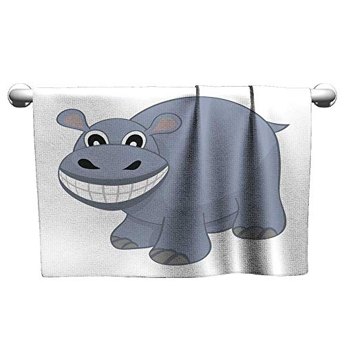 Pool Gym Towels Funny Cartoon Hippo Scrub Towel Microfiber Towel 32 x 63 Inch