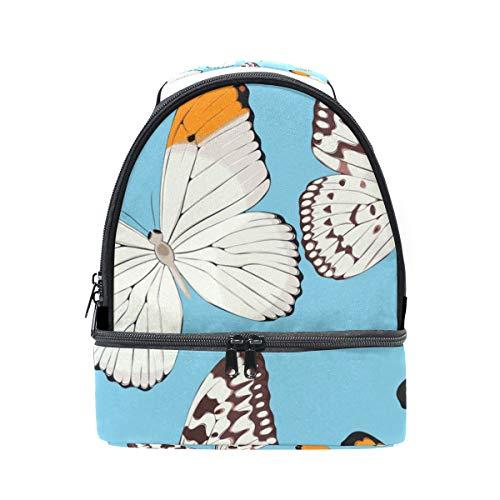 Alinlo vintage Papillon Boîte à lunch Sac isotherme Cooler Tote avec bandoulière réglable pour Pincnic à l'école