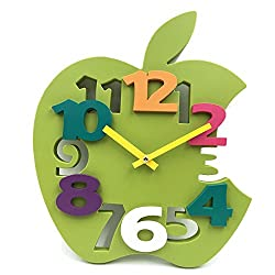 Hippih Mute 3D Apple Shaped Wall Clock with Plastic Material for Home decor(Green)