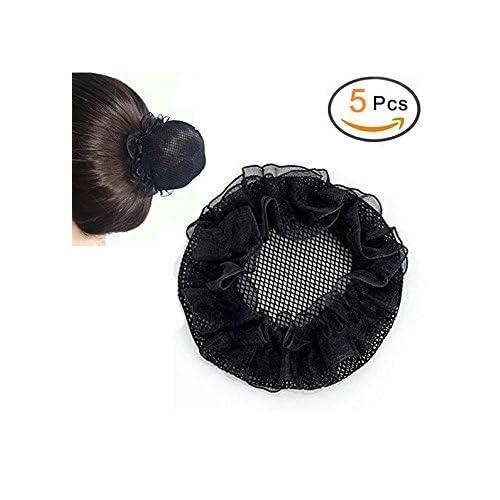 Filet à Chignon elastique noire pour les femmes, 5 filets à chignon d'un ensemble