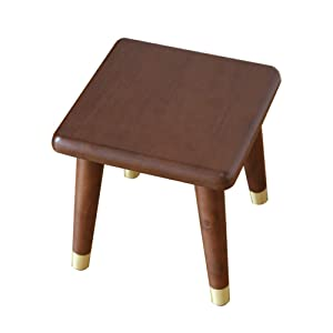 Shangmeng Solid Wooden Step Stool for Kids, Non Slip Small Stool Children Shoes Bench with Copper Chair Legs Protector for Bedroom, Living Room, Entrance
