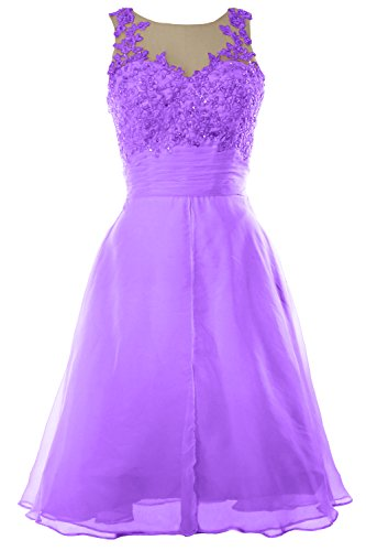 MACloth Women Straps Lace Chiffon Short Prom Dress Homecoming Formal Gown Lavanda