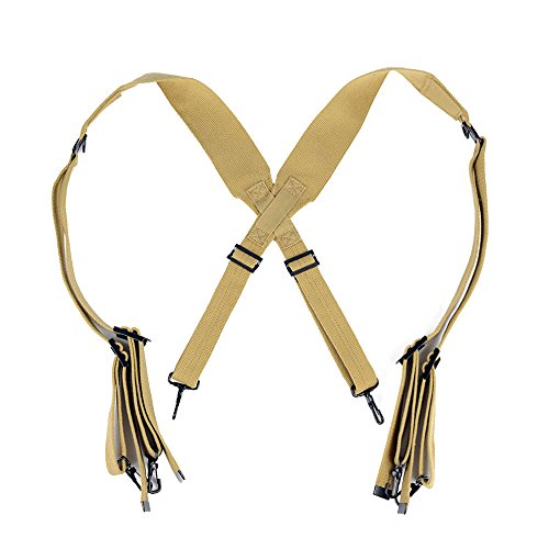 (Oleader WW2 US Army M1936 Suspenders WWII Standard X Strap Combat Cotton Webbing Khaki)