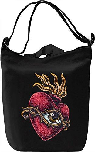 Heart with eye Borsa Giornaliera Canvas Canvas Day Bag| 100% Premium Cotton Canvas| DTG Printing|