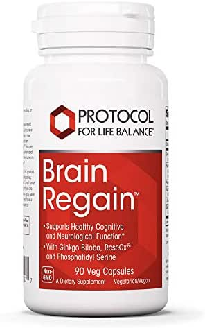 Protocol For Life Balance - Brain Regain™ - Supports Healthy Cognitive & Neurological Function with Ginkgo Biloba, RoseOx, and Phosphatidyl Serine - 90 Veg Capsules