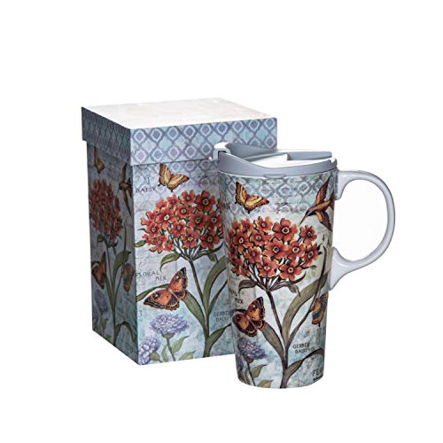 Ceramic Coffee Cup Car Travel Mug with Gift Box and Lid, 17 OZ.