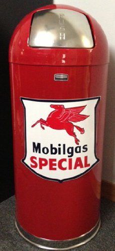 Retro Style Bullet Trash Can- Mobil Gas Special