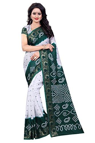 Divine International Women's Art Silk Panetar Bandhani Sarees (Green + White) (White Silk Saree)