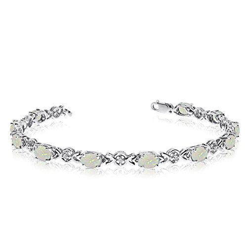 14K White Gold Oval Opal and Diamond Bracelet (6 Inch Length)