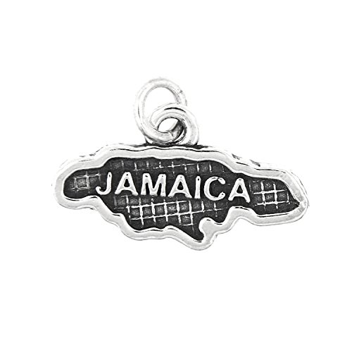Lgu Sterling Silver Oxidized Map of Jamaica Travel Charm