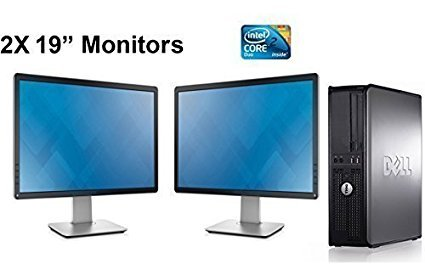 Dell OptiPlex Computer Package Dual Core 3.0,New 8GB RAM, 250GB HDD, Windows 10 Home Edition, Dual 19″ Monitor (Brands may vary) – (Renewed)
