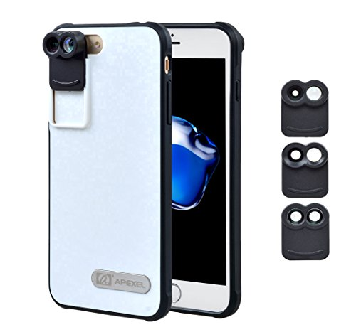 APEXEL HD Optics Dual Lens Kit for iPhone 7 plus,Fisheye Lens&Telephoto Lens,Wide Lens&Telephoto Lens,Macro Zoom Lens with Back Case by Apexel