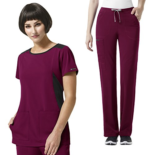 HP Women's Neo Boatneck Solid Top & Ion Boot Cut Cinched Pant Scrub set [XXS - 3XL]+ FREE GIFT (Boatneck Solid)