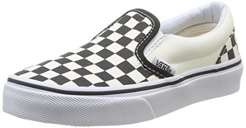 (Vans Youth Classic Slip-On Shoes Checkerboard Black/White Size)