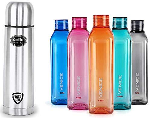 Cello Flip Style Stainless Steel, 1 Litre, Silver & Cello Venice Plastic Bottle Set, 1 Litre, Set of 5, Assorted